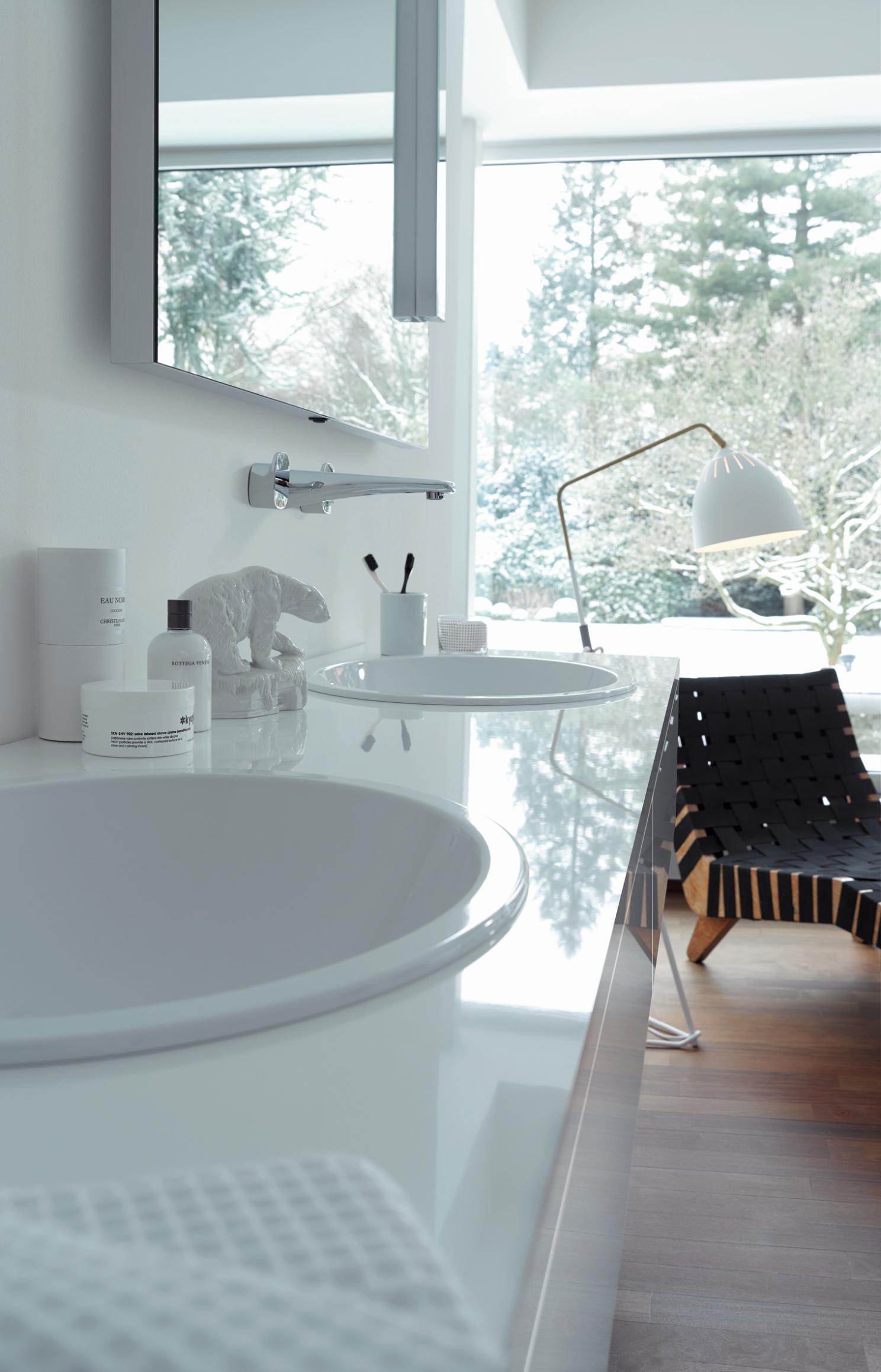 Vinterhvid feng shui til det moderne badeværelse